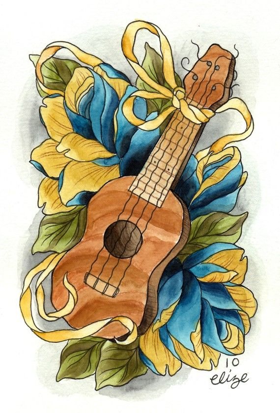 Ukulele Tattoo Style Print by ElizeNazelie on Etsy don't so much care for all the frilly background, but this is closer to what I'm looking for