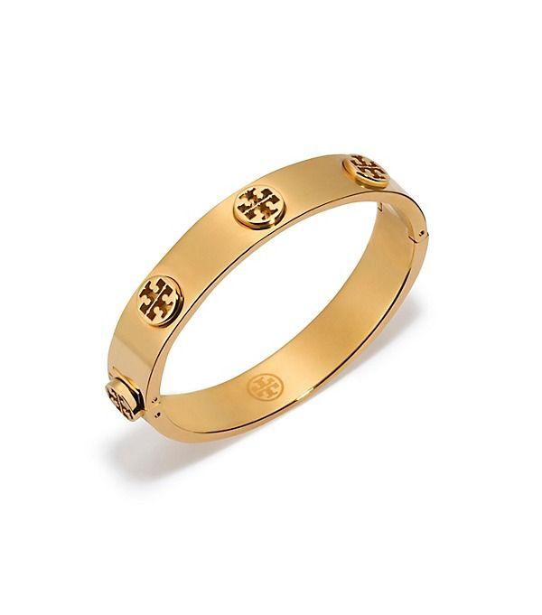 erin - gold Tory Burch Metal Logo Stud Bracelet