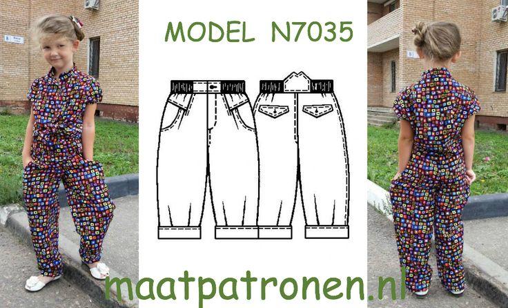 MAATPATRONEN Meisjes broek.  MODEL N7035   http://maatpatronen.nl/mod-p.php?t=5&f=1&mod=8005 #maatpatronen #patronen_op_maat #herenkleding_patroon #heren_jas #jas_patroon #grote_maat_patroon #tienerkleding_patroon