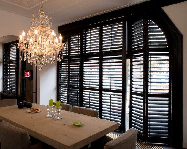 45 best shutters living room images on pinterest for Black window shutters interior