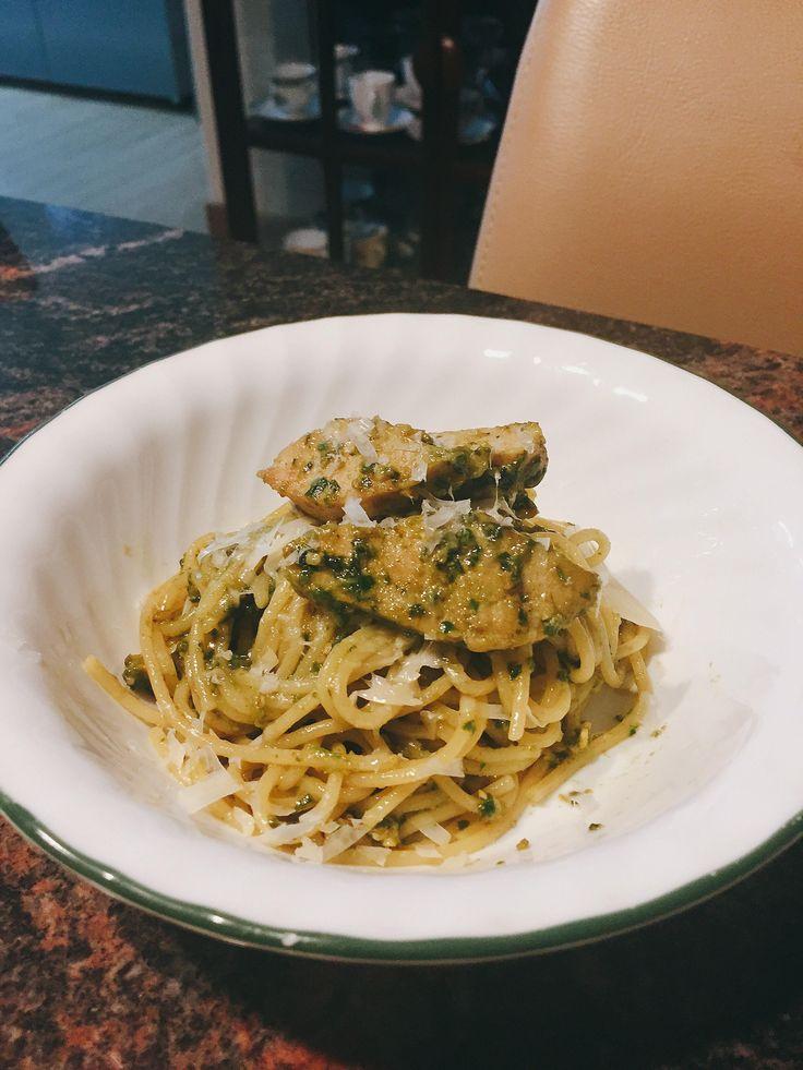 [homemade] homegrown basil pesto pasta with chicken