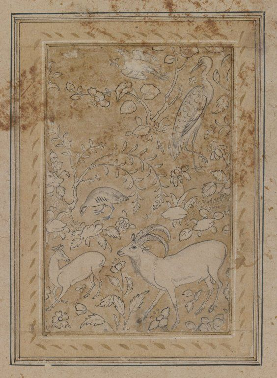 Drawing of Animals and Plants Medium: Ink and gold on paper Dates: 1576-78 Period: Safavid
