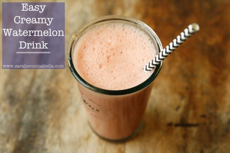 This Easy Creamy Watermelon Drink is a refreshing beverage to enjoy with breakfast or as a snack. #ad