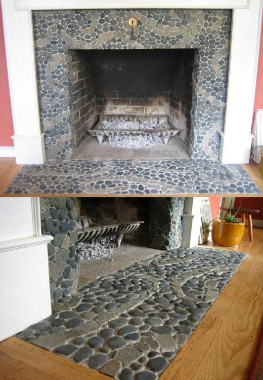 Charcoal Black pebble tile design with swirl stripe of Grey Stone Mosaic tile.  Interesting design for fireplace stone.