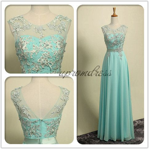 Round Neck Chiffon Skirt Formal Prom Dress,Tiffany Blue Zipper Back Bridesmaid Dresses,Bridesmaid Formal Dresses with Sash on Etsy, £72.40