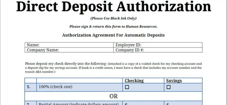 Printable PDF Direct Deposit Authorization Form | Printable ...