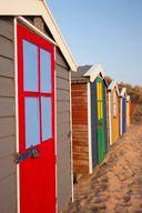 Beach huts, Saunton Sands Beach, Devon, England, UK.