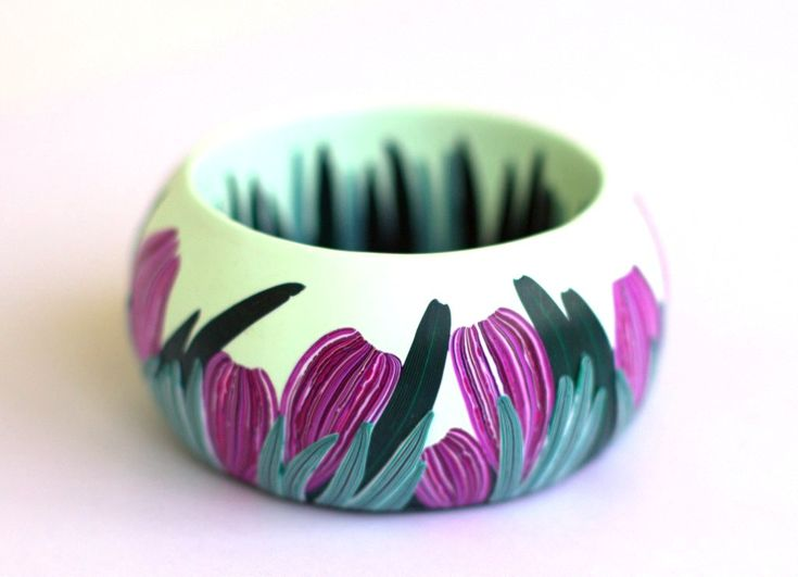 Flower decorated polymer clay bangle