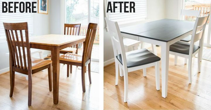 From Dated Brown To Fresh Gray And White A Table Transformation Brown Kitchen Tables Dining Table Makeover Brown Dining Table