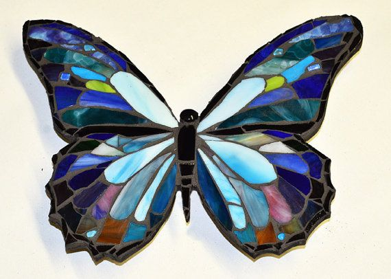 Blue Morpho Stained Glass Butterfly Mosaic by ArtInstitchtute