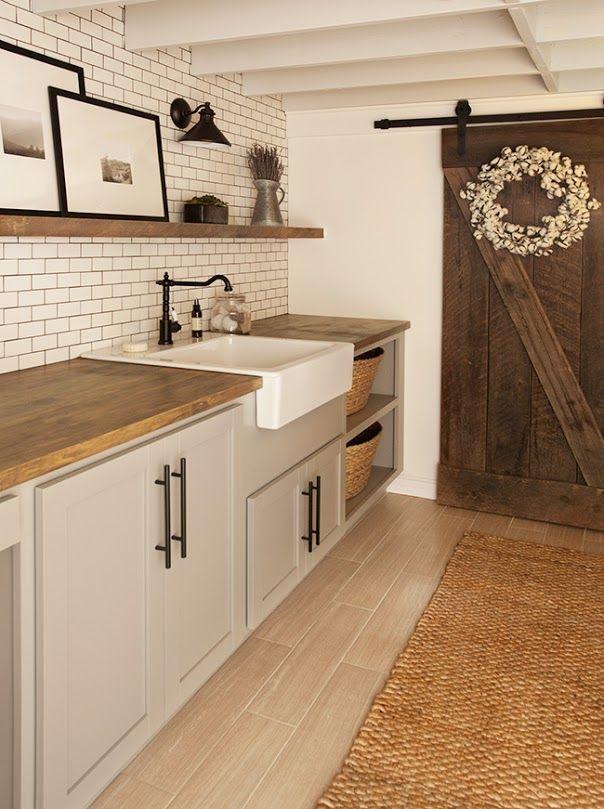 Superb Gray Cabinets, Farm Sink, Subway Tile, Sconce, Cotton Wreath On Barn Door