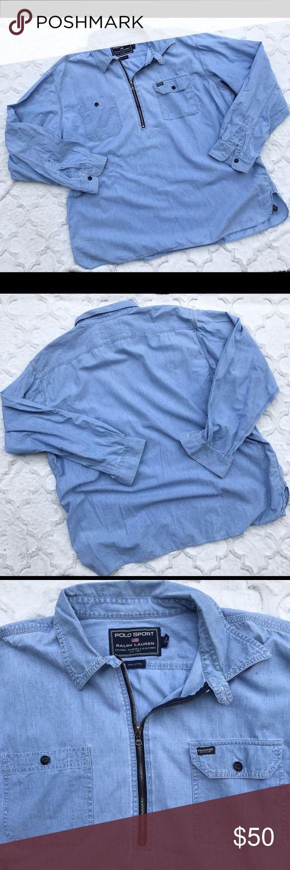 Polo Sport Ralph Lauren 1/4 Zip Denim LS Shrt XXL Polo Sport Ralph Lauren 1/4 Zip Denim Blue Long Sleeve Shirt XXL RARE Polo by Ralph Lauren Shirts Casual Button Down Shirts