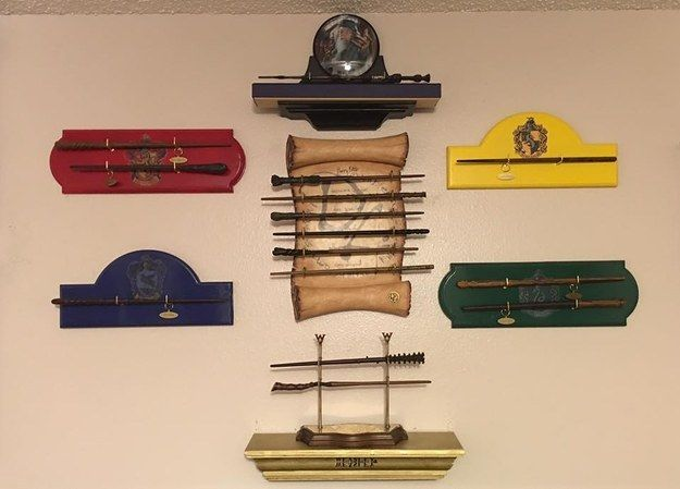 In total, the couple own 65 wands. The collection (including the DIY displays they made) is worth around $4,000.