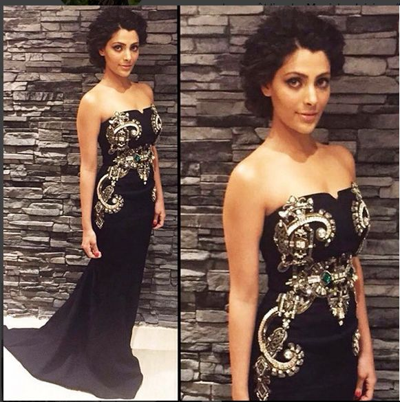 black is always classy! saiyami kher wearing our paramount gown inspired by 1920s Art Deco for a Gala dinner party. Styled by Ami Patel.