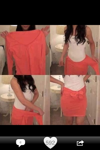 DIY Skirt Out Of V Neck Shirt, No Sew No Cut Just pull it ...