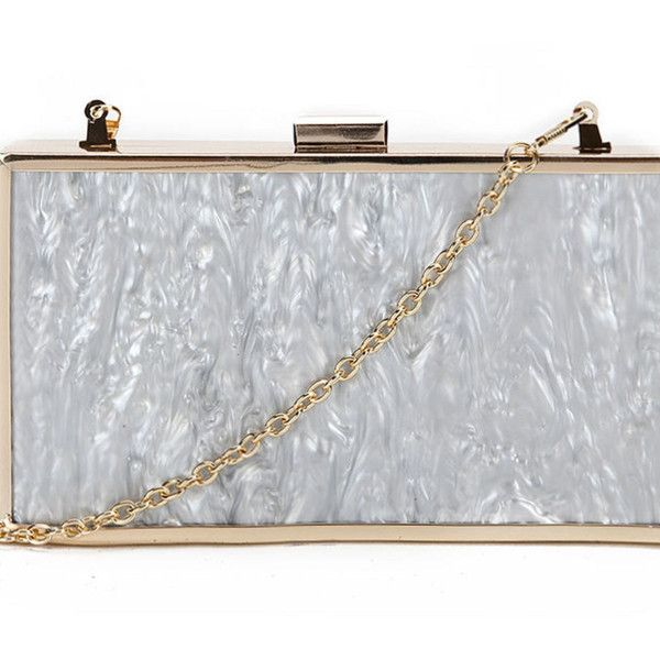 avaaya Grey Marble Box Clutch ($39) ❤ liked on Polyvore featuring bags, handbags, clutches, grey, gray purse, metallic clutches, grey handbags, metallic purse and metal purse