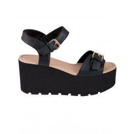 Black Pu Flatform Sandals | Shoes | Desire