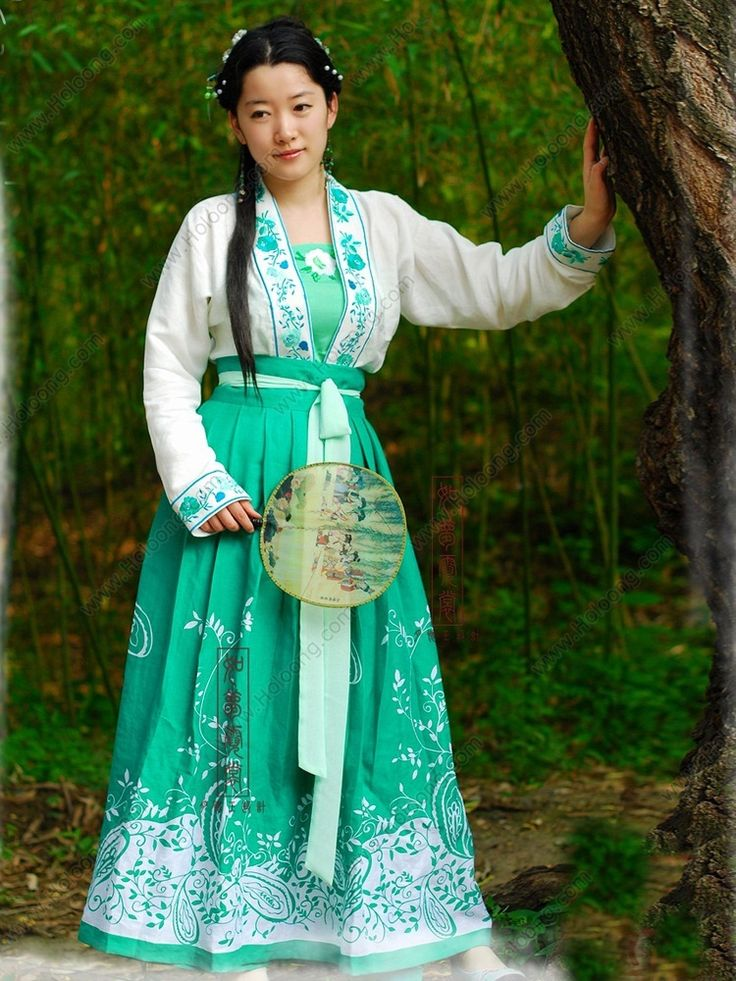 Women's Hemp Green Skirt Ruqun dress Tang Dynasty Hanfu Clothing - USD $ 307.00