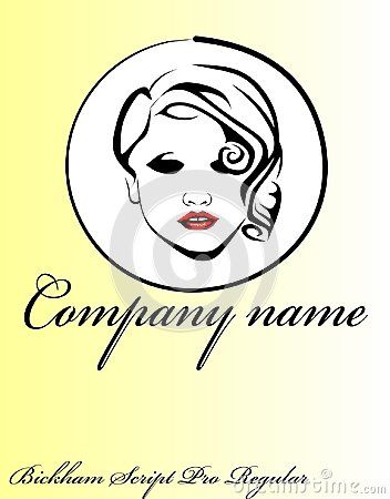 Decorative logo design with fictional female portrait.  Ideal for beauty salons, beauticians and hairdressers.  Vector illustration.