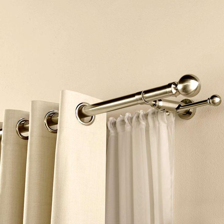 Satin Silver Duo Curtain Pole   Dunelm