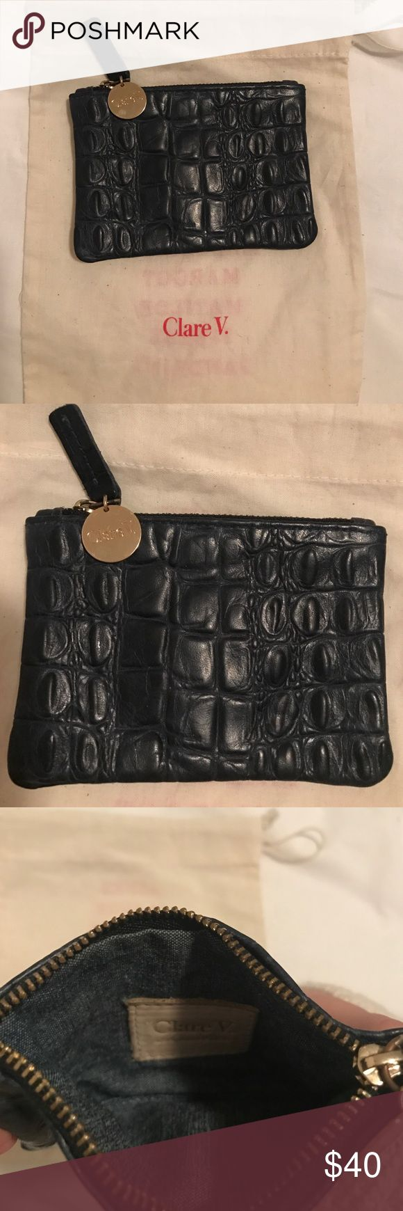Clare Vivier Coin Clutch in Navy Croco This is a Claire Vivier coin clutch. Perfect as a coin purse or card carrier. In a pretty navy croco leather. Great condition and comes with a dust bag. Clare Vivier Bags Wallets