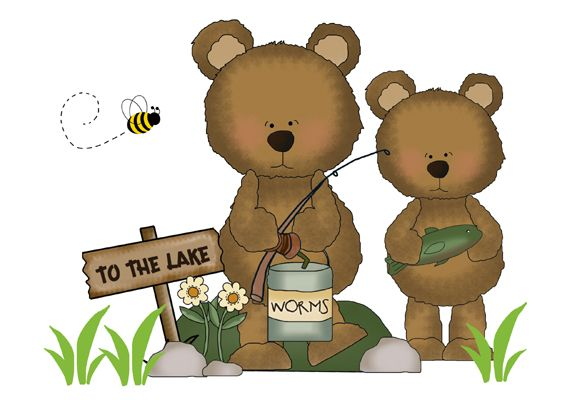Fishing Teddy Bear Wall Art Mural Decal Woodland Nursery Stickers #decampstudios