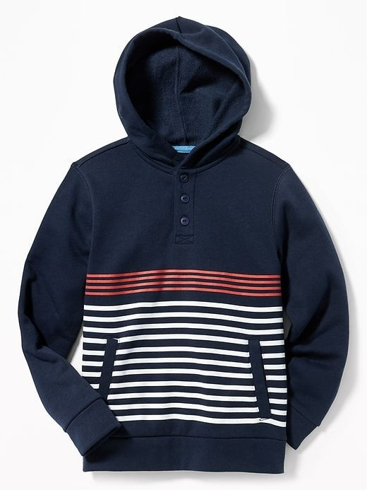 Striped Fleece Henley Hoodie for Boys