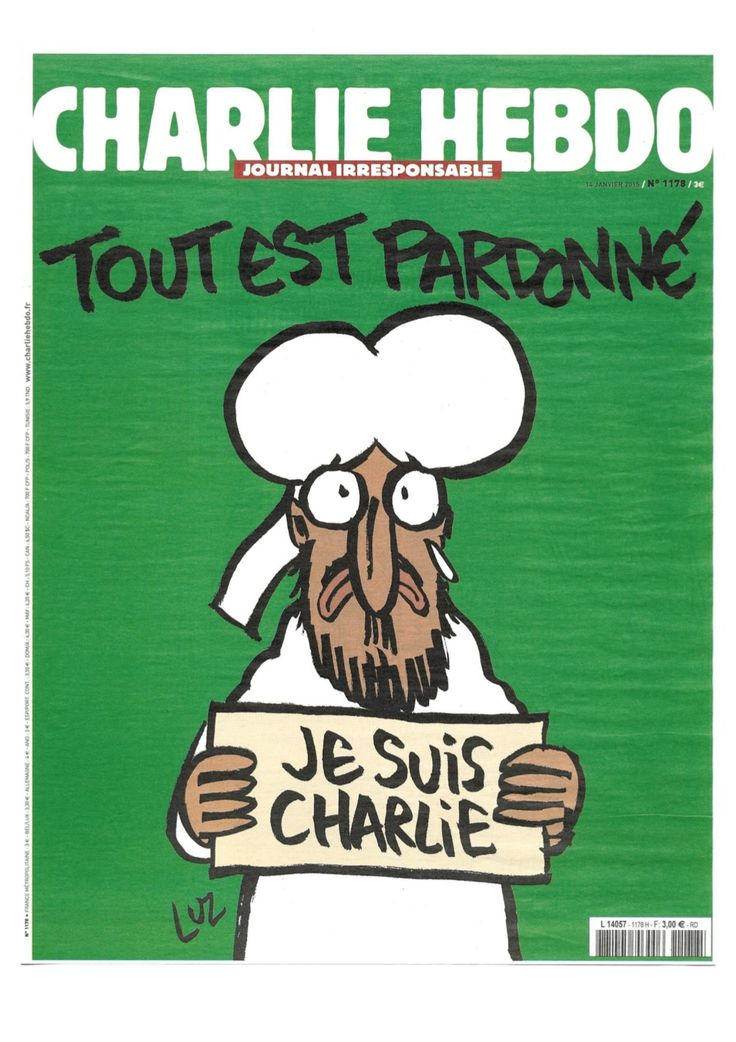 """Obálka s """"Tout est pardonné/Vše je odpuštěno"""" a odkaz na celé číslo - http://www.slideshare.net/ibooklet/charlie-hebdo1778"""
