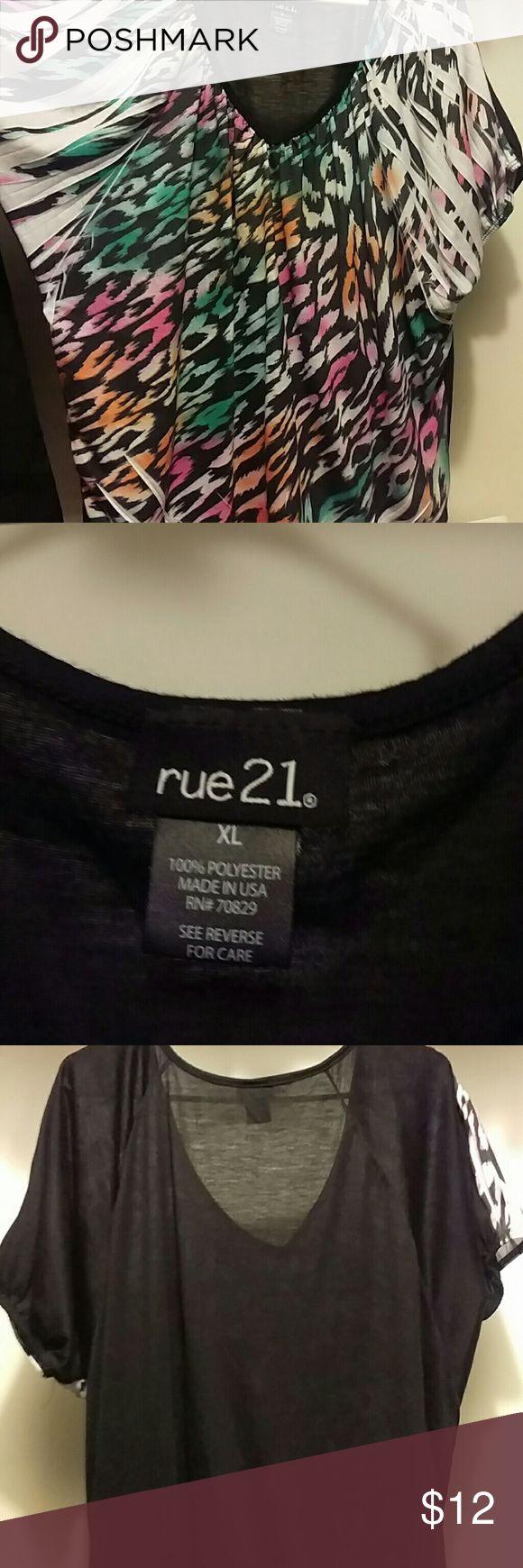 Rue 21 women's Tee Green pink and orange XL women's Rue 21 Tee. Worn once Rue 21 Tops Tees - Short Sleeve