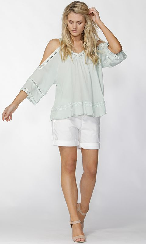 Fate - Love Life Cold Shoulder Top In Mint By Fate + Becker*
