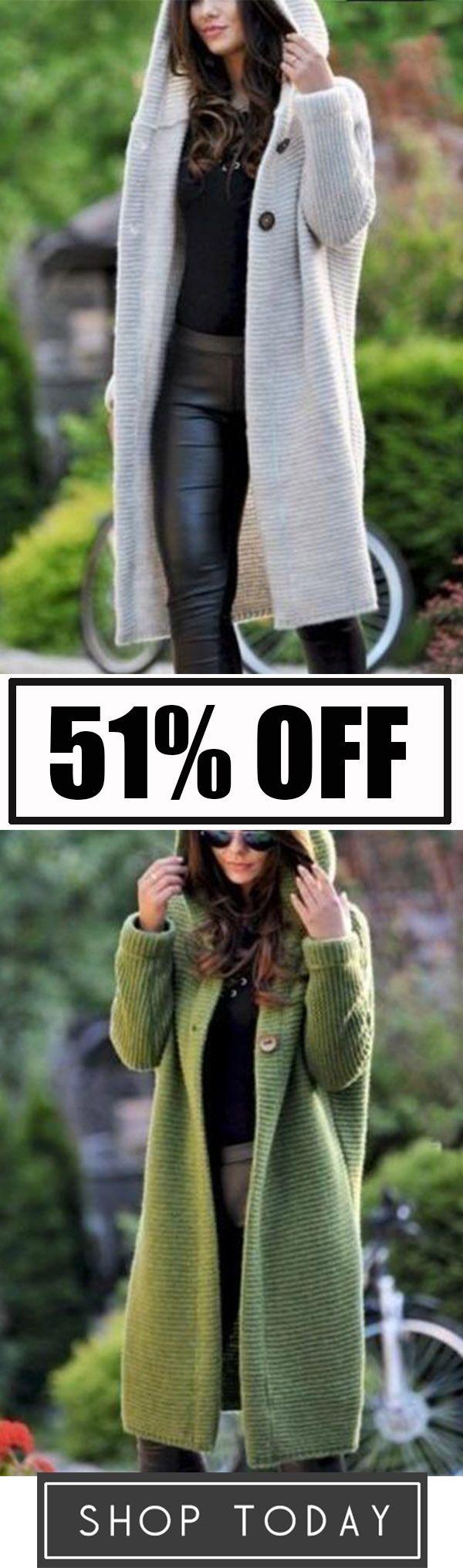 Fashion Hooded Long Cardigan Jacket Autumn and Winter Warm Sweater Long Coat 17