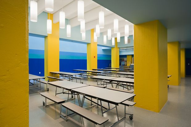 Paula Scher/Pentagram: Color banding in the cafeteria defines and enhances the architecture.