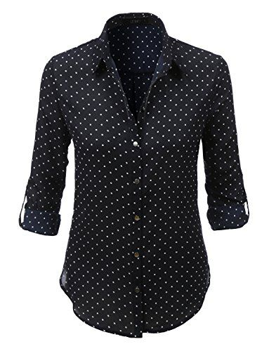 LE3NO Womens Loose Chiffon Polka Dot Button Down Blouse T...