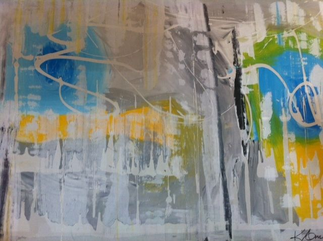 Kerry Armstrong Art, in cool colours, soft grey, lime, lemon and artic blue120 x 180cm
