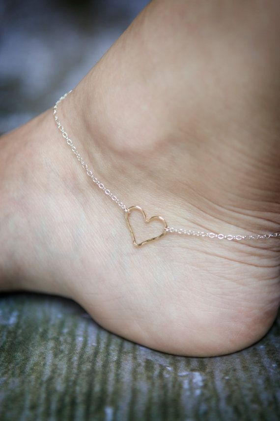 Hammered Heart Ankle Bracelet  Gold Filled by SimplySweetStudio, $25.00