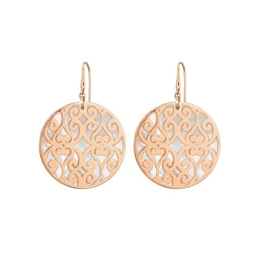 Earrings in rosè steel and mother-of-pearl