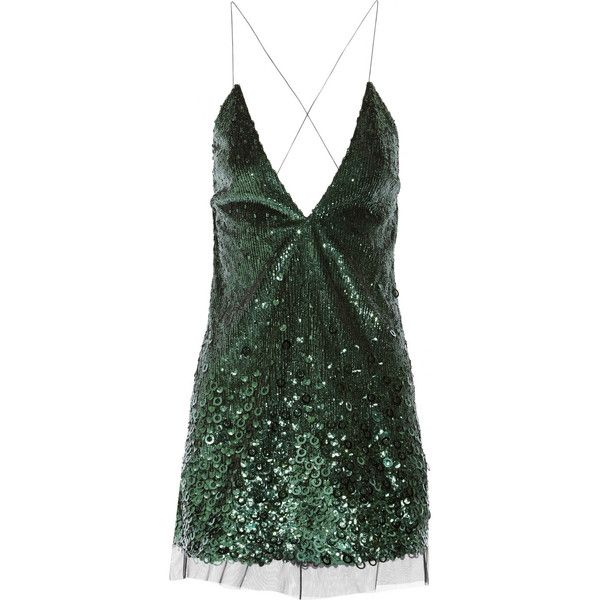 Marc Jacobs Sequined tulle mini dress (€1.765) ❤ liked on Polyvore featuring dresses, short dresses, vestidos, marc jacobs, green, tulle dress, sequin dress, green tulle dress, green mini dress and mini dress