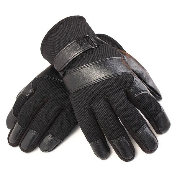 Winter Thermal Men's Gloves Nylon Leather Skidproof Outdoor Thread Driving Mittens