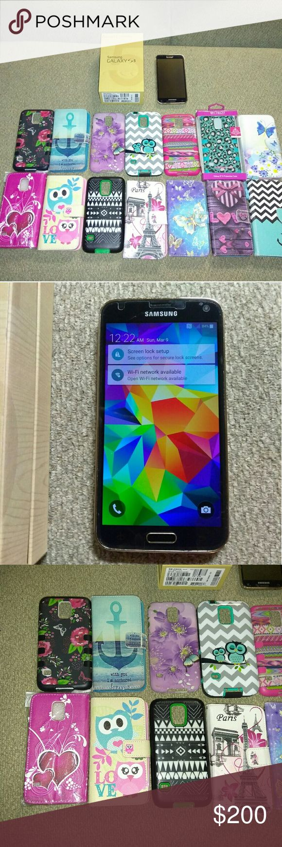 Samsung Galaxy S5 gold and 14 cases This phone is just like new.   The screen has a protector on it.. some minor mini dints on skin protector   but can't see them when the phone is on....AT&T..   unlocked.  Used it with straight talk after i unlocked it.   Still has a straight talk sim card it in.   Comes with 14 cases..  everyone of them are in perfect condition but one. The second one on the top row with the anchor.    No charger. But any Samsung  charger will work..    price is not frim…