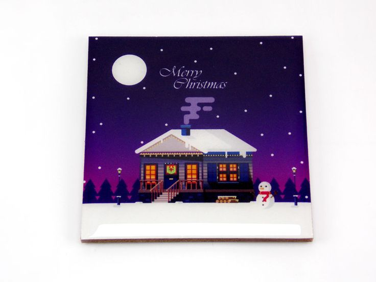 Merry Christmas House Snowman Purple Drink Coaster Unique Gift MDF Wood Osarix