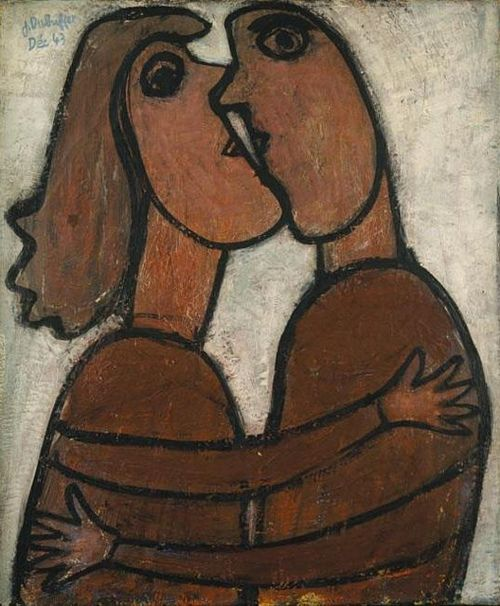"""Jean Dubuffet (1901-1985) """"The Little Kiss"""" (1943) Sotheby's London / Critics described his style as Art Brut (raw art) due to the rawness and aggression of their expression, in part based on the study of paintings by children or unbalanced people."""