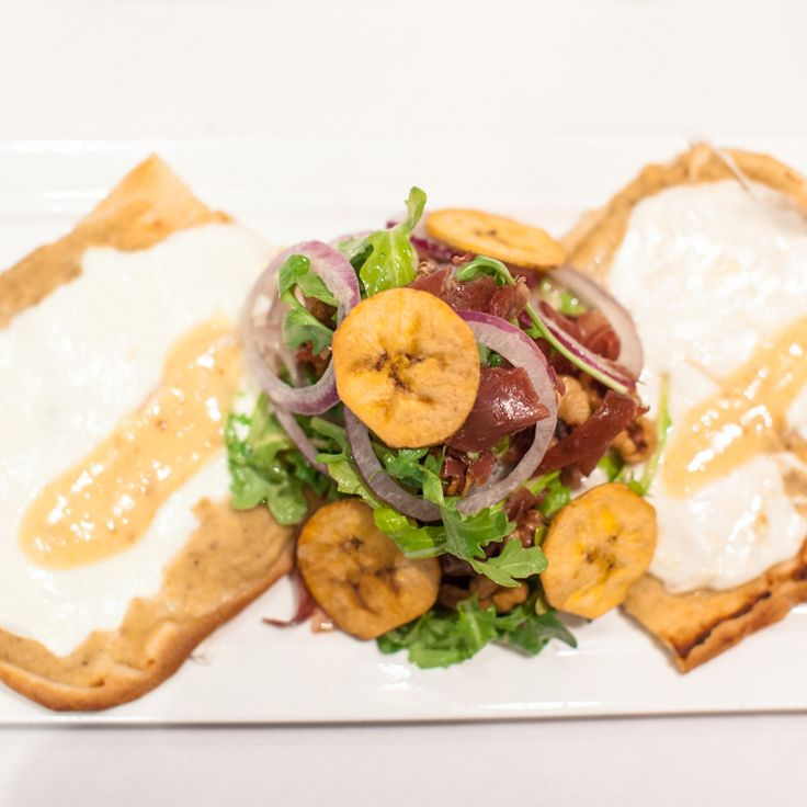 Spotlight on one of Criollo's brand new lunch items: The Plantain Hummus Flatbread.