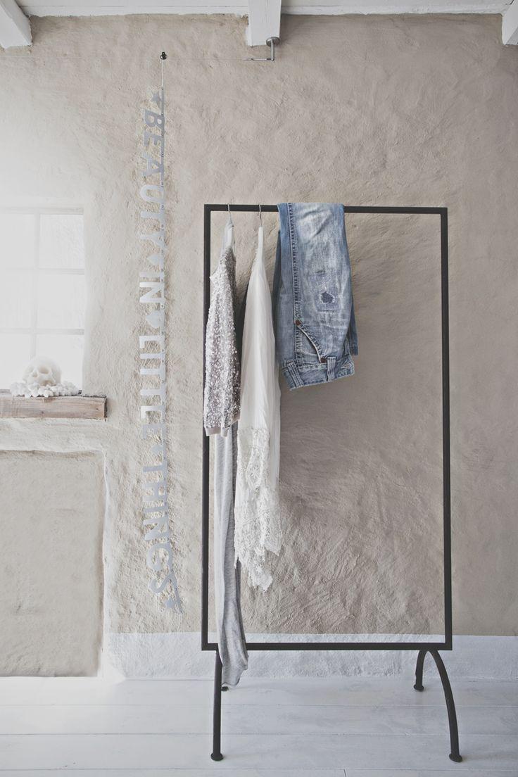 honeypieLIVINGetc ~ Scandinavian like decor ~ Great Idea ~ Clothes to Be Work Rack in the bathroom :)