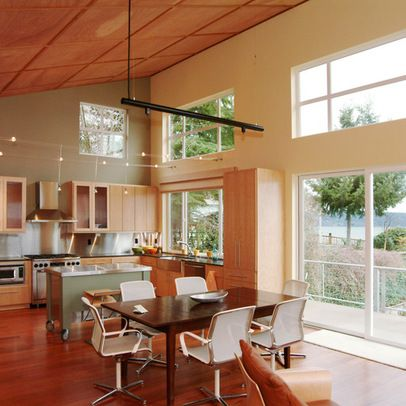 Vaulted shed roof interior house ideas pinterest for Ceiling high kitchen cabinets