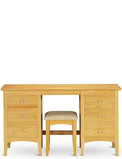 Hastings Natural Dressing Table & Stool Set