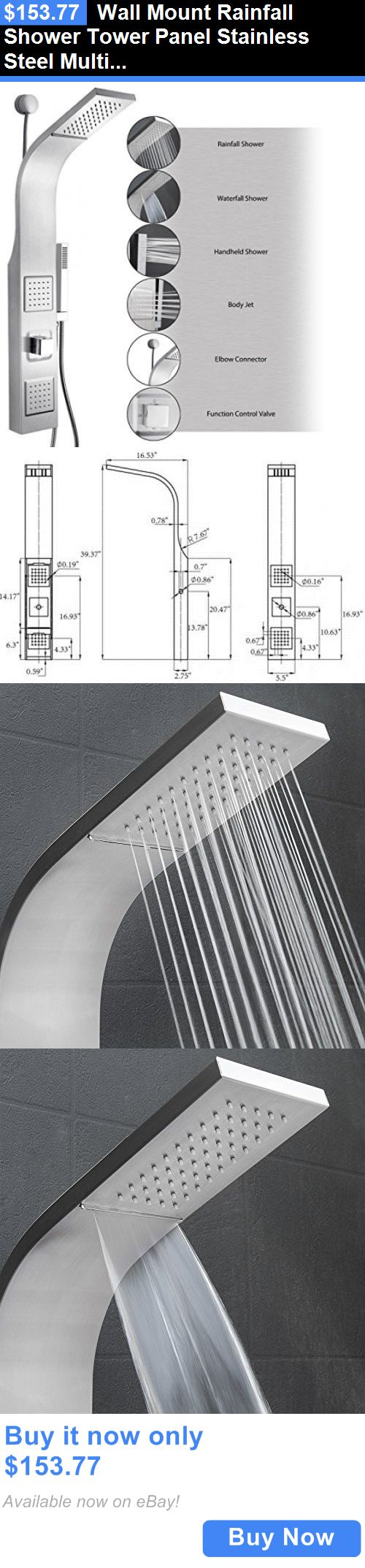 Massagers: Wall Mount Rainfall Shower Tower Panel Stainless Steel Multi-Function Massage BUY IT NOW ONLY: $153.77