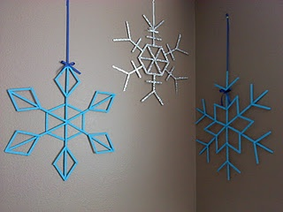 DIY Popsicle Stick snowflakes!
