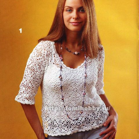 White blouse with slevees and with an excellent diagram, use web translator for written instructions
