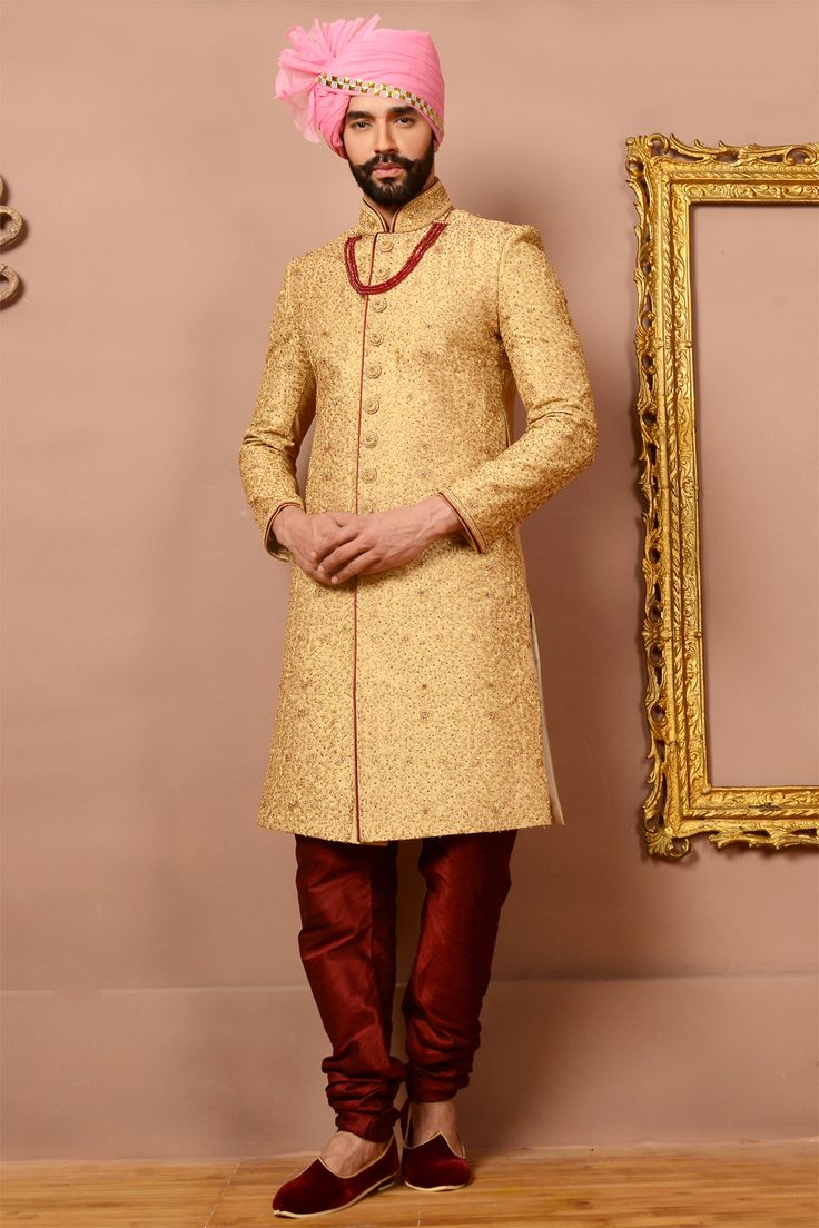 Dress up with the #Royal Gold Jaquard Silk Brocade Sherwani at #NihalFashions, with 10% Discount & Free shipping all over the globe. Use Coupon Code: FEB18 #MensFashion #OccasionWear #Wedding #Groom #Sherwani #Traditional #Fashions #Discount #Offers