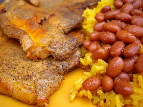 Chuletas with Rice and Beans by swampkitty, via Flickr